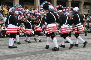 The Britannia Coco-nut Dancers, a folk dance troupe from Bacup in Lancashire, England.